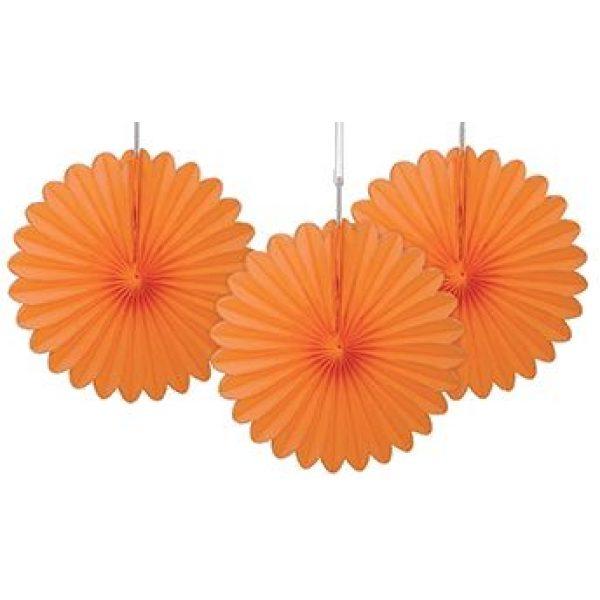 3 Deko Party Fächer Orange 15 cm-0