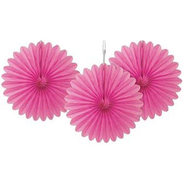 3 Deko Party Fächer Pink 15 cm-0