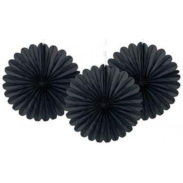 3 Deko Party Fächer Schwarz 15 cm-0