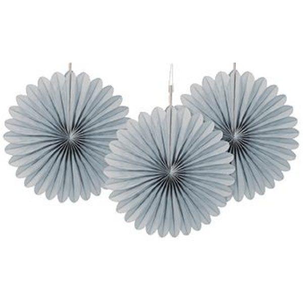 3 Deko Party Fächer Silber 15 cm-0