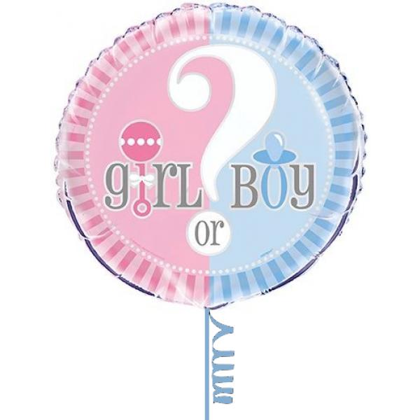 "Boy or Girl Folienballon ""Junge oder Mädchen?"" 45 cm-0"