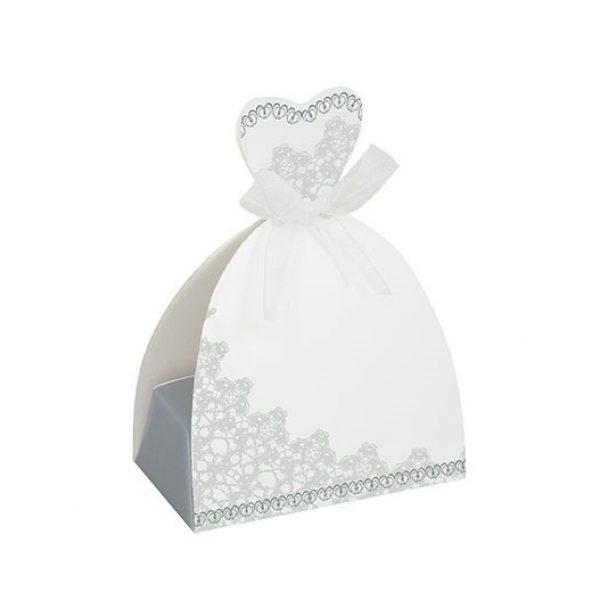 Brautkleid Geschenkschachtel Silber Weiss Hochzeit Gift Box-0