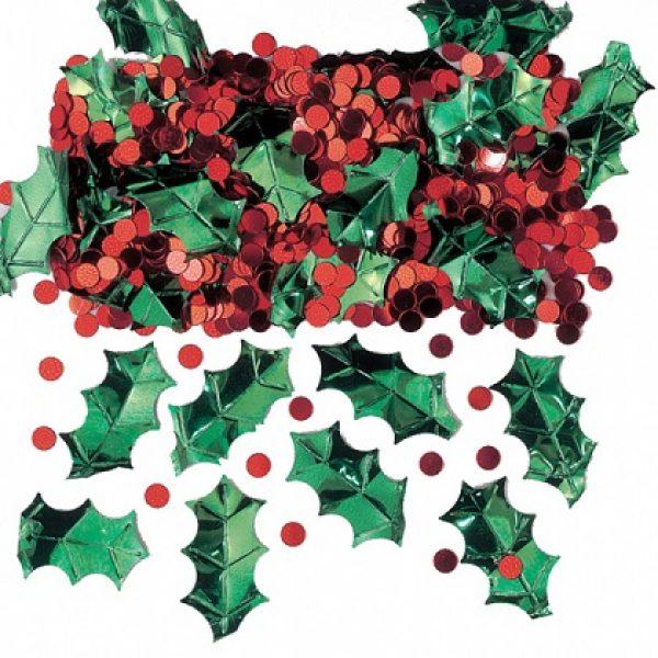 Weihnachten Konfetti Metallic Stechpalme & Rote Beeren-0