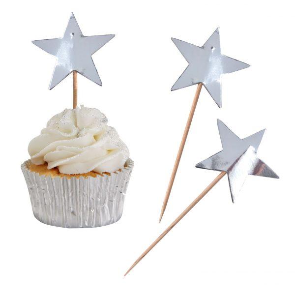 10 Silber Sterne Cupcake Picks Metallic Perfection-0