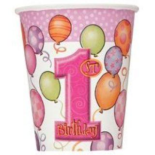 8 Pink 1. Geburtstag Pappbecher-0