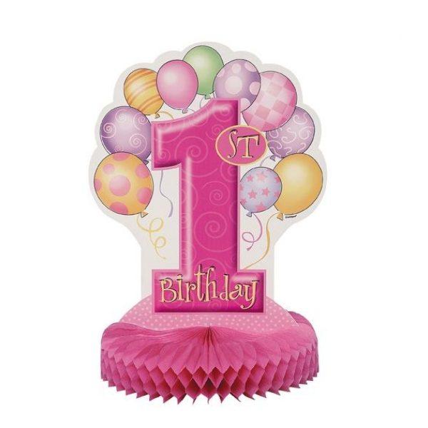 1. Geburtstag Pink Aufsteller Tischdekoration-0