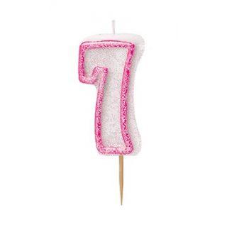 """Zahlenkerze """"7"""" Pink Glitz-0"""