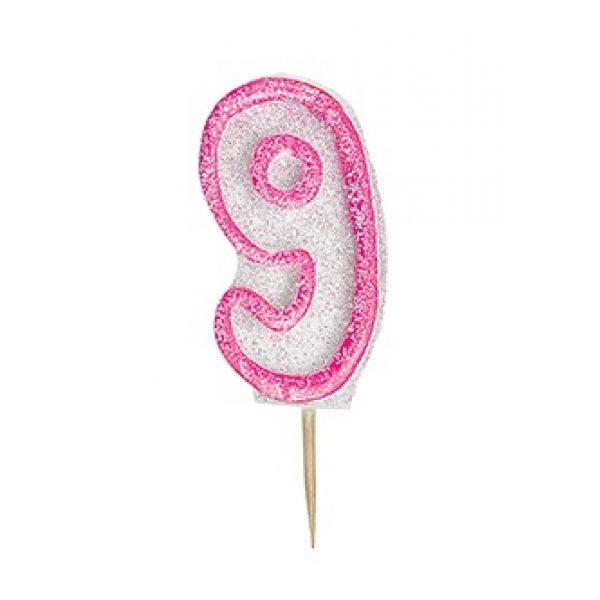 """Zahlenkerze """"9"""" Pink Glitz-0"""
