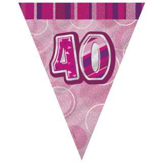 40. Geburtstag Wimpelkette Pink Glitz-0