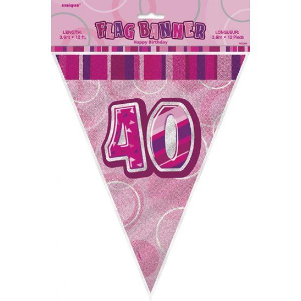 40. Geburtstag Wimpelkette Pink Glitz-2430