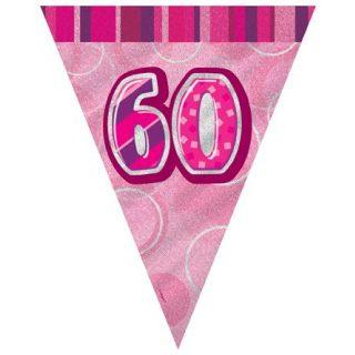 60. Geburtstag Wimpelkette Pink Glitz-0