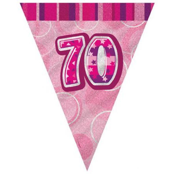 70. Geburtstag Wimpelkette Pink Glitz-0