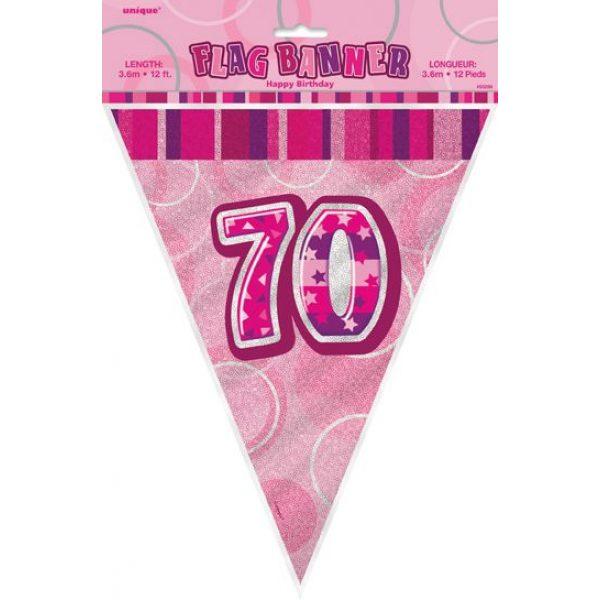 70. Geburtstag Wimpelkette Pink Glitz-2440