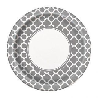8 Silber Quatrefoil Dessert Pappteller-0