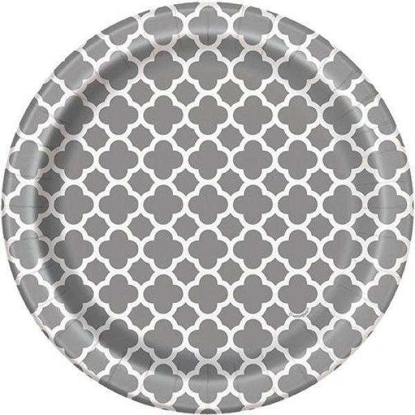 8 Silber Quatrefoil Pappteller-0