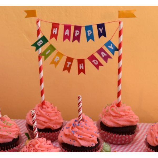 Happy Birthday Wimpelkette Tortendeko-3085