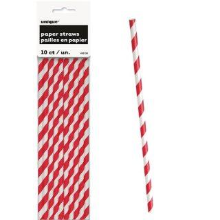 10 Rot Stripes Strohhalme-0