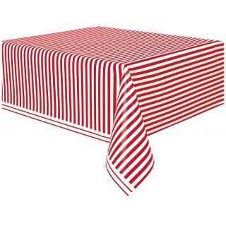 Tischdecke Rot Weiß Streifen-0