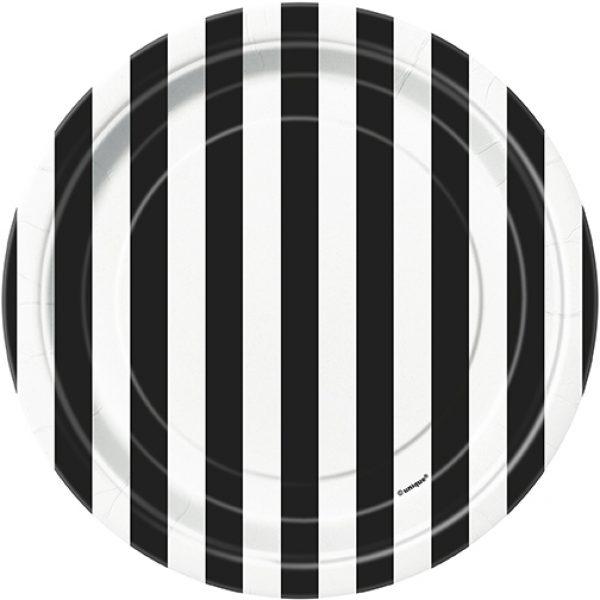 6 Pappteller Schwarz Weiß Streifen-0