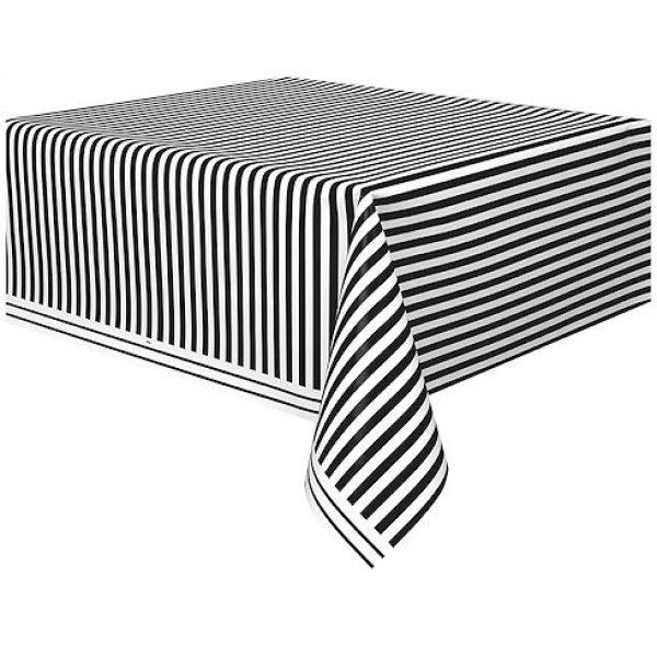 Tischdecke Schwarz Weiß Streifen-0