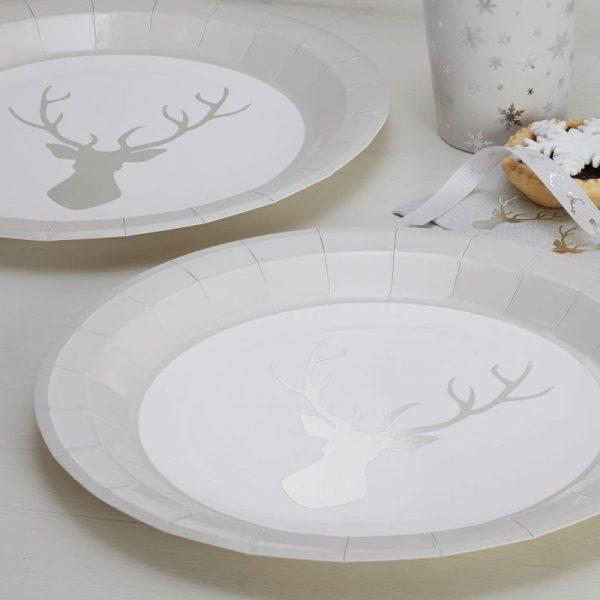 8 Silber Folien Hirsch Pappteller Metallic Perfection-0
