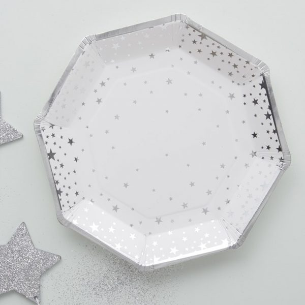 8 Silber Sterne Pappteller Metallic Perfection-0