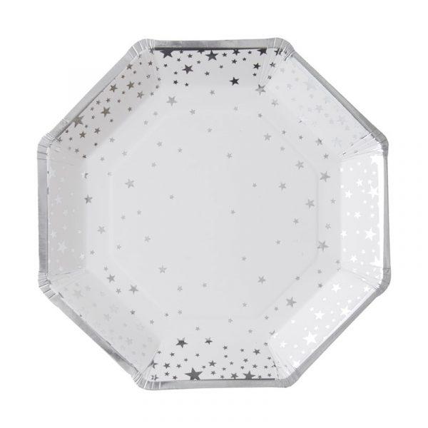 8 Silber Sterne Pappteller Metallic Perfection-2507