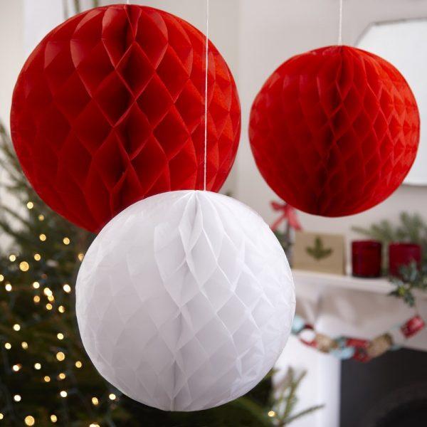 3 Große Wabenbälle Rot Weiß-2518