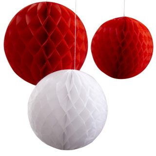 3 Große Wabenbälle Rot Weiß-0