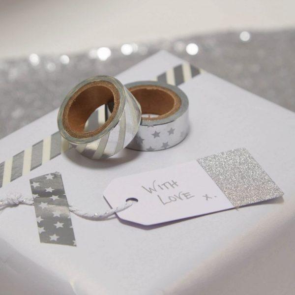 Silberfolie Washi Geschenk Klebeband Metallic Perfection-0