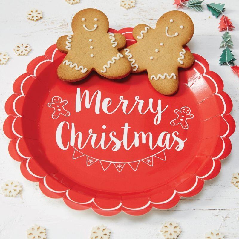 """8 """"Merry Christmas"""" Pappteller Vintage Noel-0"""