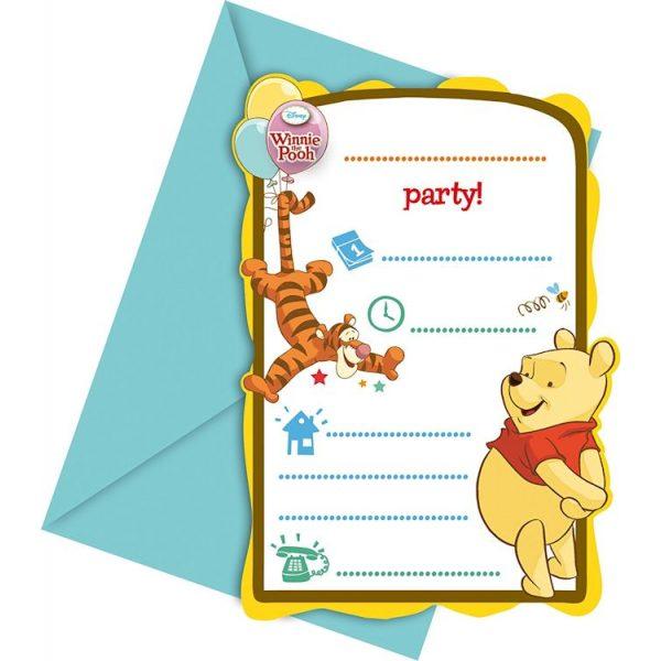 6 Winnie Puuh Einladungen-0