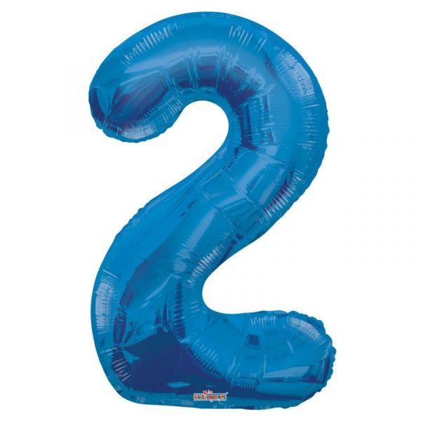 Zahlenballon 2 Blau 86 cm -0