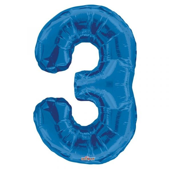 Zahlenballon 3 Blau 86 cm -0