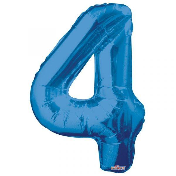Zahlenballon 4 Blau 86 cm -0