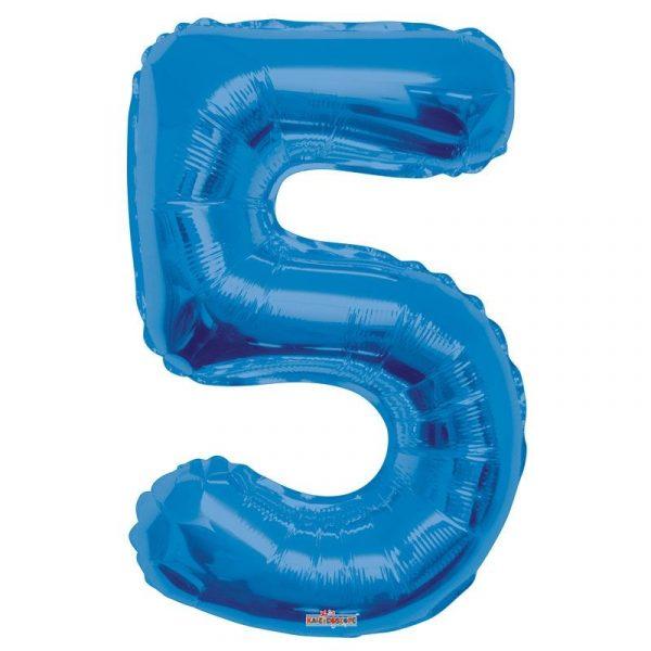 Zahlenballon 5 Blau 86 cm-0