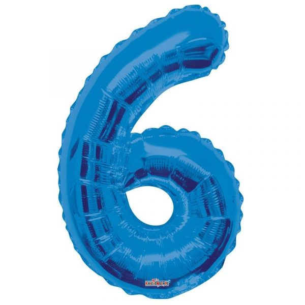 Zahlenballon 6 Blau 86 cm-0
