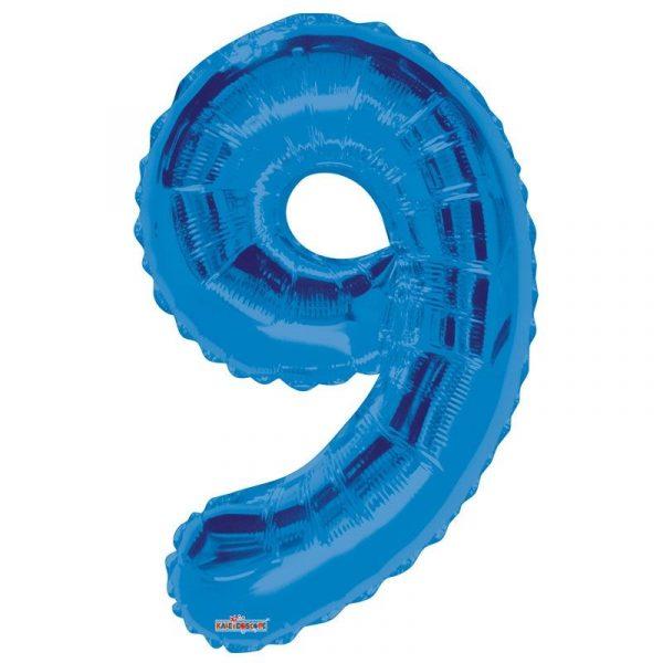 Zahlenballon 9 Blau 86 cm-0