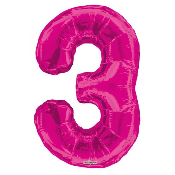 Zahlenballon 3 Pink 86 cm-0
