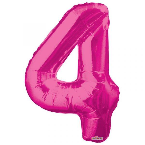 Zahlenballon 4 Pink 86 cm-0
