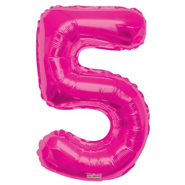 Zahlenballon 5 Pink 86 cm-0