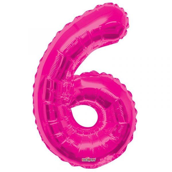 Zahlenballon 6 Pink 86 cm-0
