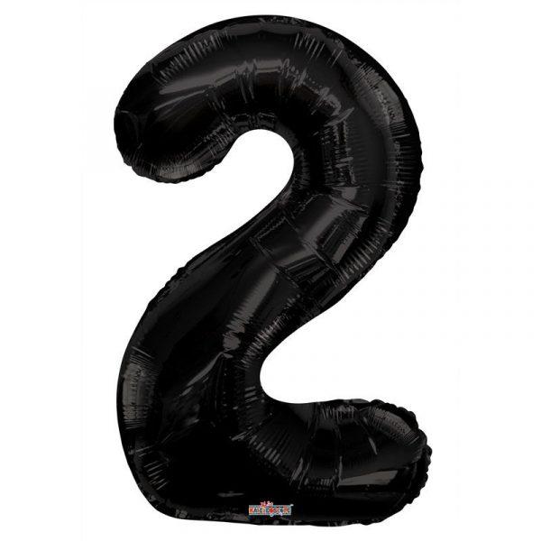 Zahlenballon 2 Schwarz 86 cm-0