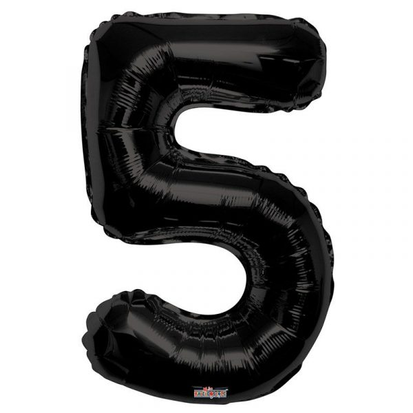 Zahlenballon 5 Schwarz 86 cm-0