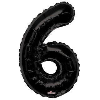 Zahlenballon 6 Schwarz 86 cm-0