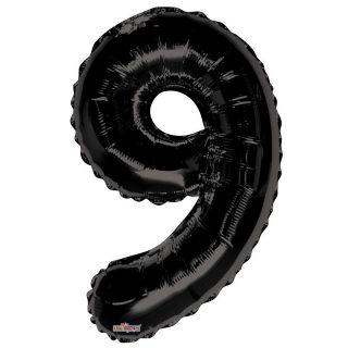 Zahlenballon 9 Schwarz 86 cm-0