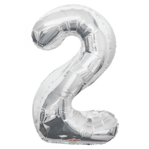Zahlenballon 2 Silber 86 cm-0