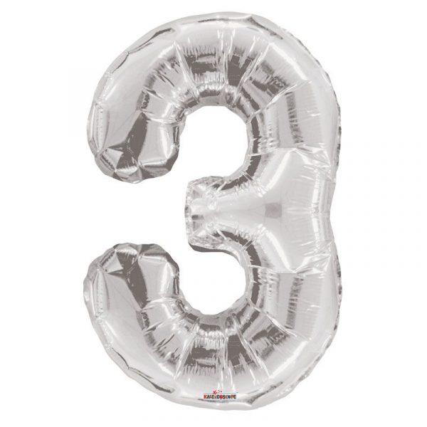 Zahlenballon 3 Silber 86 cm-0