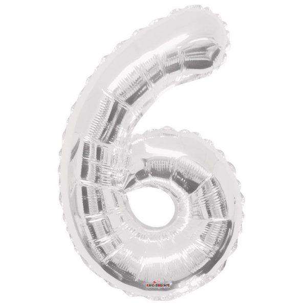 Zahlenballon 6 Silber 86 cm-0