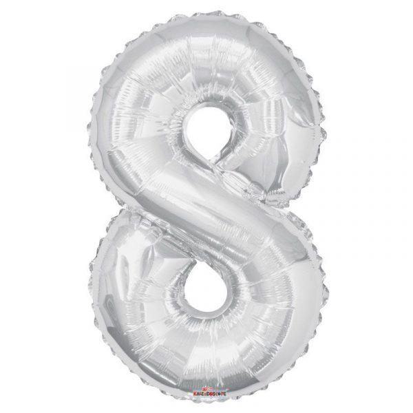 Zahlenballon 8 Silber 86 cm-0